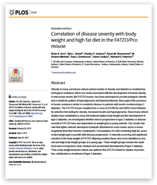 CrownBio 2017. Publication. Correlation of disease severity with body weight and high fat diet in the FATZO/Pco mouse