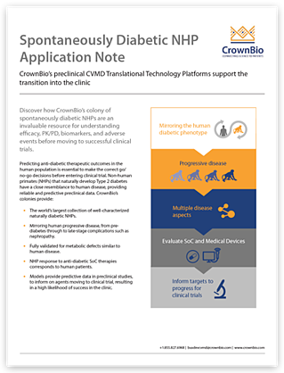 CrownBio Application Note: Spontaneously Diabetic NHPs