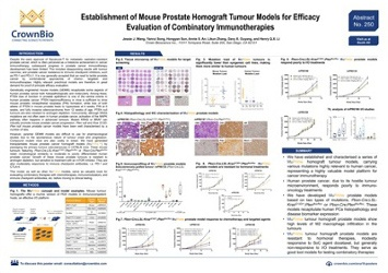 Establishing mouse prostate tumor homograft models for evaluating combinatory immunotherapies.