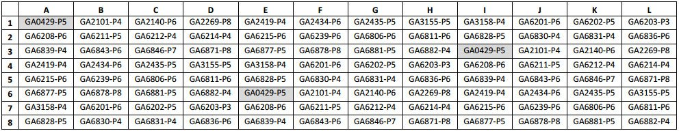 Map of Gastric Cancer Tumor Microarray Slide